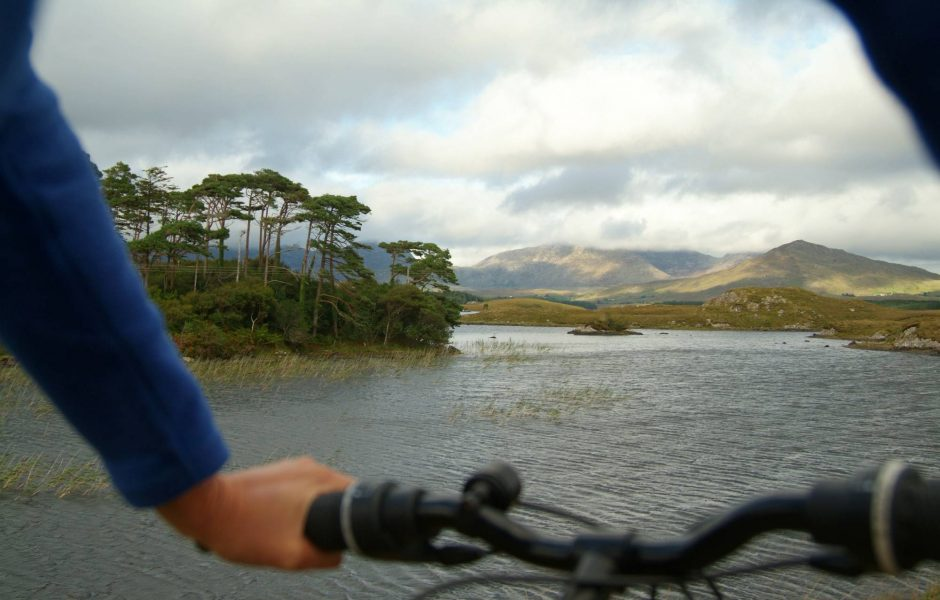 cycling around Derryclare Lough in Connemara